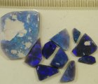 Blue on black rough opal parcel from Lightning Ridge
